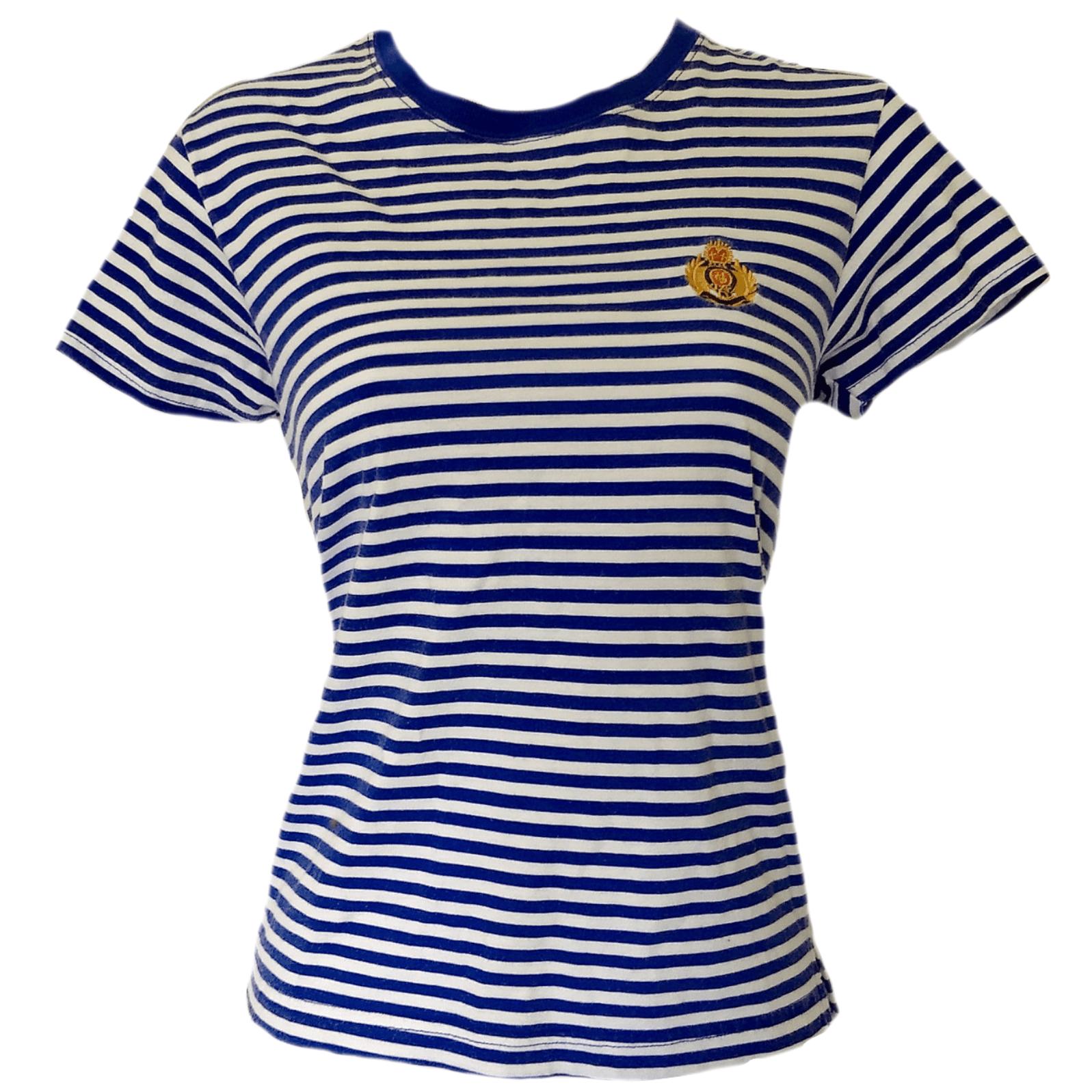 f27beb5668 £29.99 - Vintage Striped Top Emblem 90s Tshirt Tee Shirt Blue Stripes Size  Small – The Pixie Dust