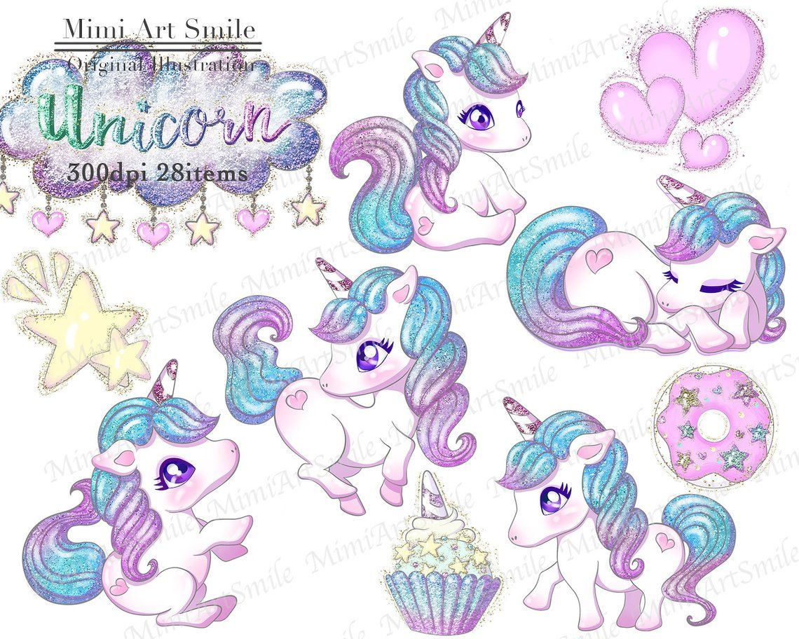 Cute Glitter Unicorn Clipart Set,Rainbow Unicorns Clip art Digital Planner sticker Cupcake Donut Ribbon Star Kawaii Moon Balloon font PNG - Unicorns clipart, Unicorn artwork, Unicorn wallpaper, Unicorn art, Clip art, Unicorn drawing - MimiArtSmile