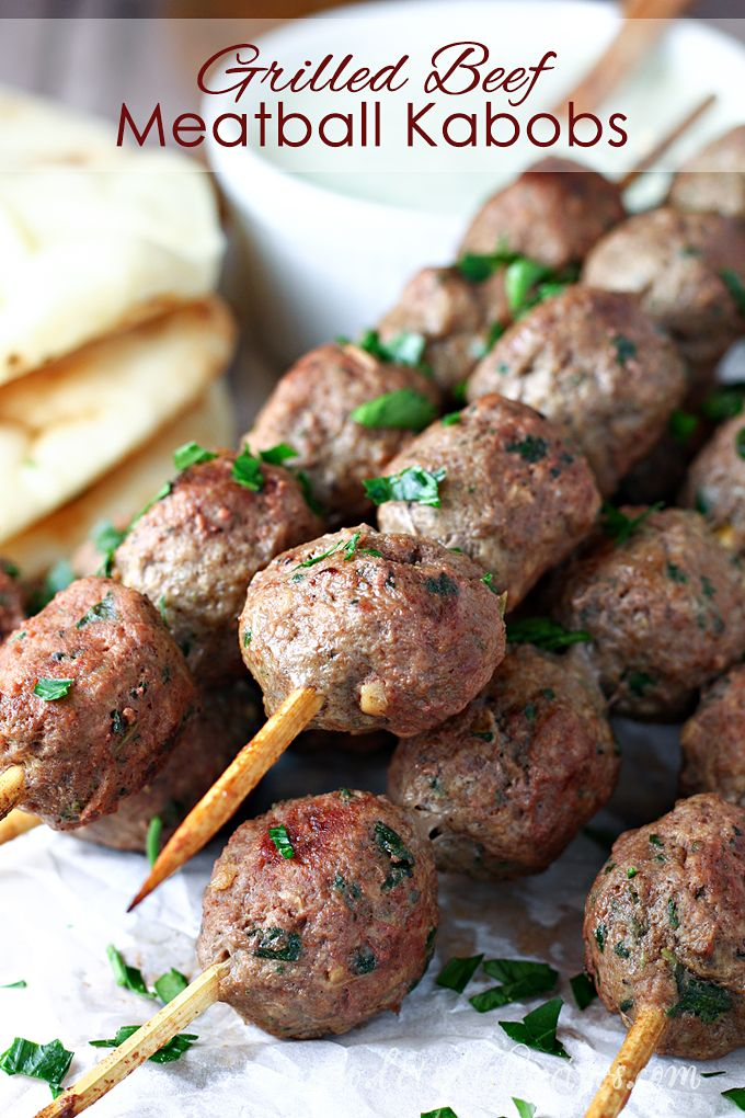 Grilled Beef Meatball Kabobs