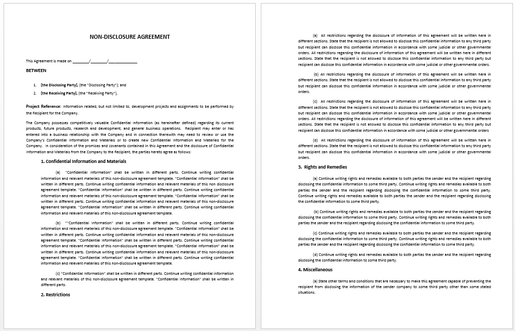 Non Disclosure Agreement Template  Official Templates