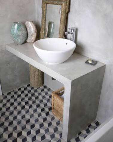 Déco salle de bain grise avec carreaux de ciment Cement and House