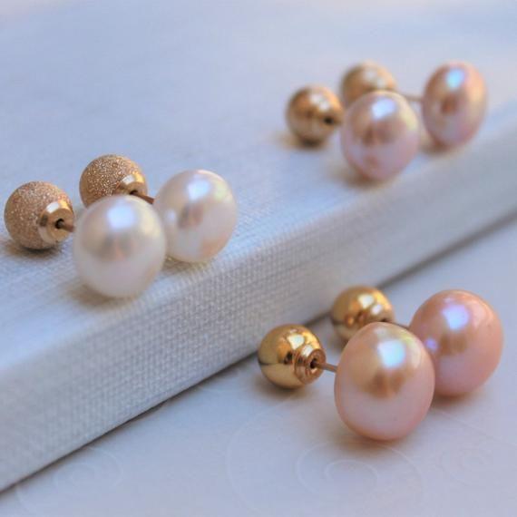 Pearl Double Sided Earrings 14k Gold Double Ball Freshwater Pearl Stud Earrings Bridesmaid Showe Double Sided Earrings Small Gold Hoop Earrings Pearl Stud Earrings