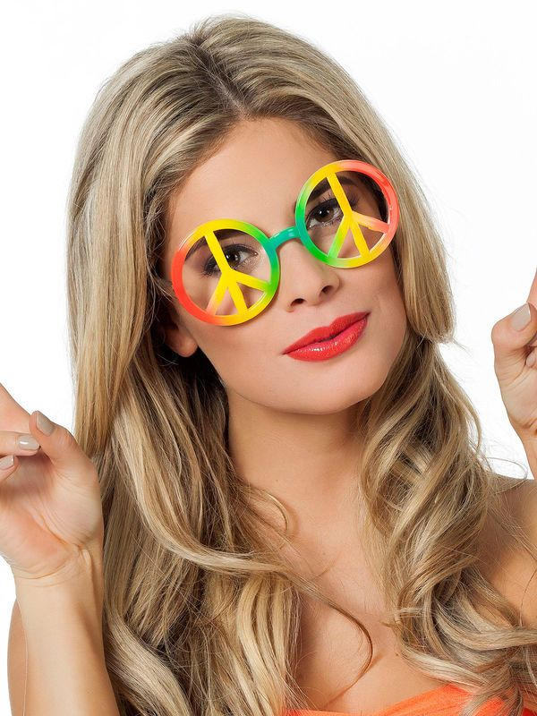 60er Hippie Brille Peace-Zeichen bunt – Asia-Zone Asia-Fashion ...