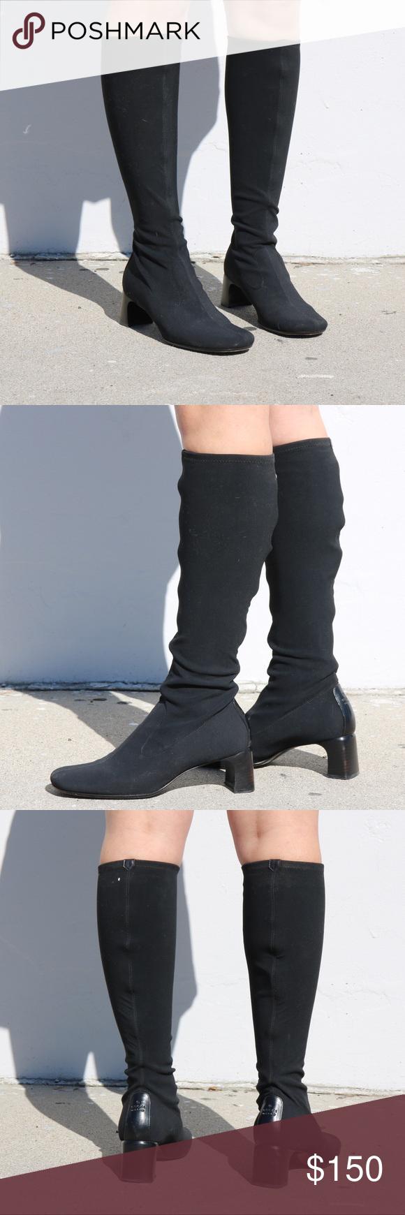 0d2dce7dad7 GUCCI SZ 7.5 SOCK BLACK BOOTS VINTAGE Super cute 90s Gucci boots Gucci Shoes