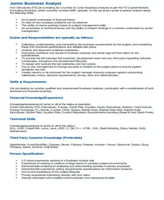 Junior It Business Analyst Resume Template  It Infrastructure