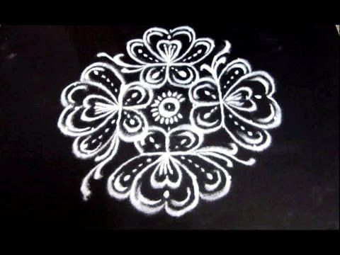 Easy rangoli flower art designs with to dots kolam muggulu simple rangolis youtube also rh pinterest