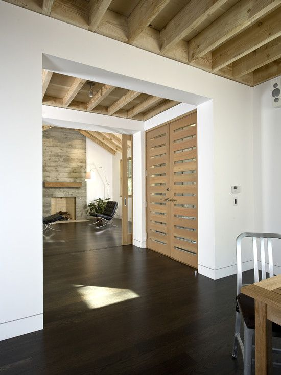 Idk Why I Have Always Loved Exposed Floor Joists I Would Do This At My New Home But There Are So Many Contemporary Entry Doors Contemporary Front Doors Home