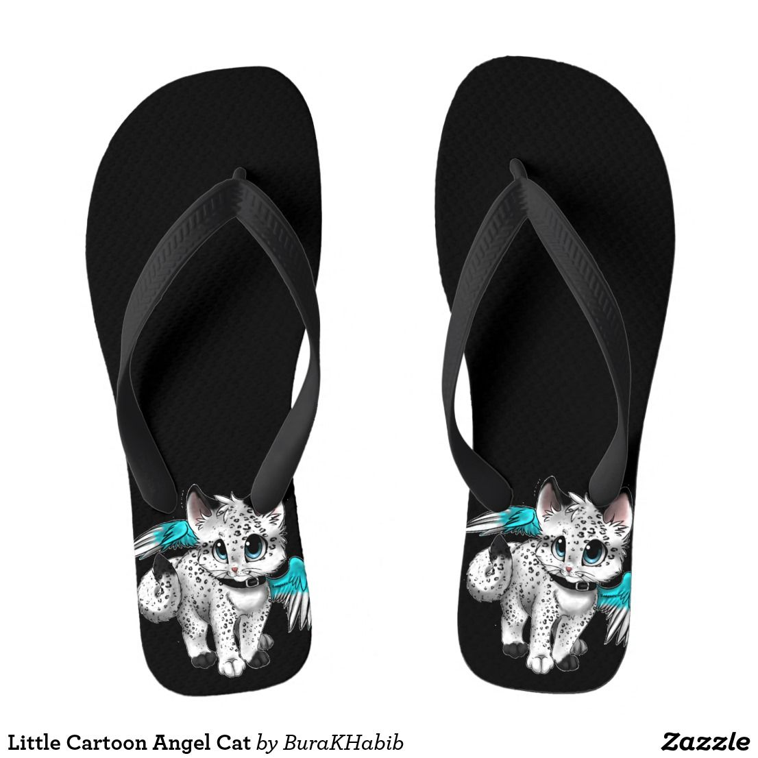 698bdf97c96c Little Cartoon Angel Cat. Little Cartoon Angel Cat Flip Flops ...