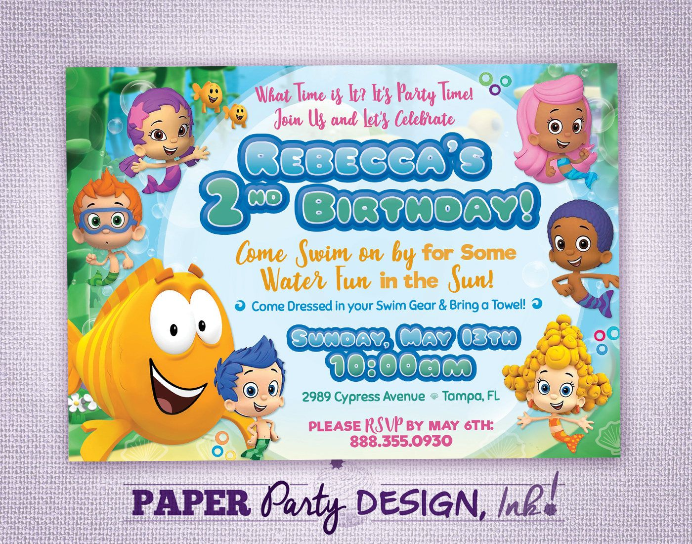 Bubble Guppies Birthday Party Invitation, Bubble Guppies Party ...
