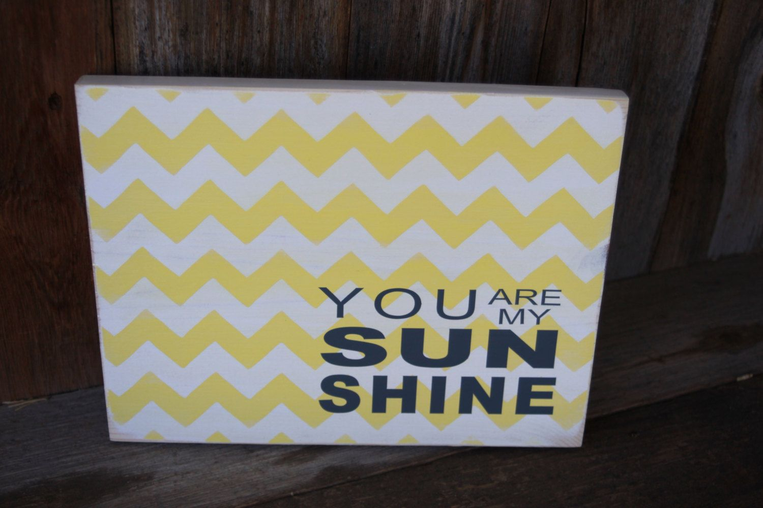 you are my sunshine chevron wood sign with vinyl lettering