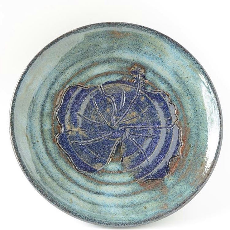 #handmade #plate with a #hibiscus #flower #turquoise #purple #set