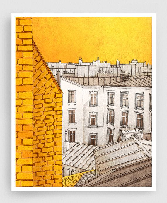 Paris illustration - Sunny day in Paris - Art Illustration Print Poster Paris Art Print Paris decor Wall decor Architecture Cityscape yellow