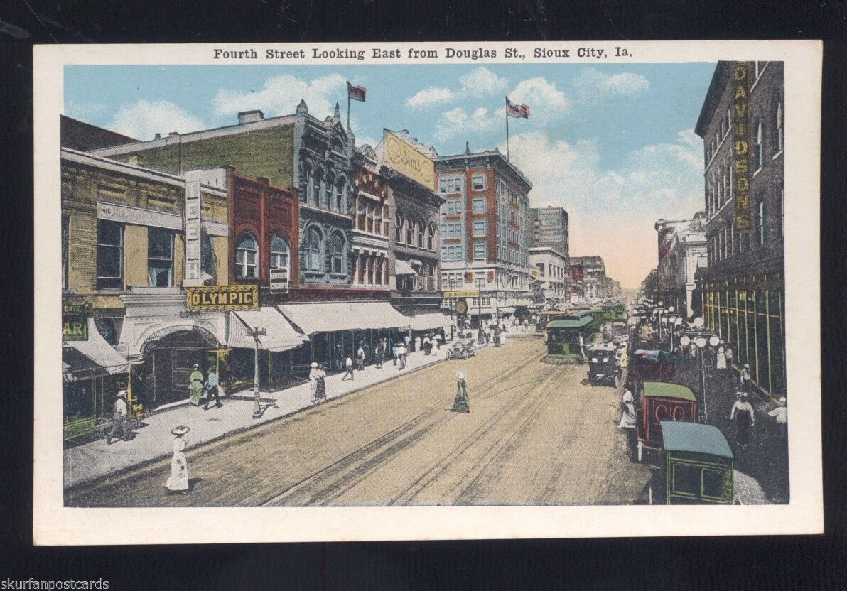 Sioux City Iowa Downtown Fourth Street Scene Antique Vintage