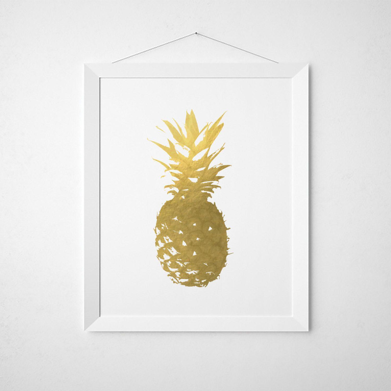 Pineapple faux gold foil wall art wall art prints etsy shop