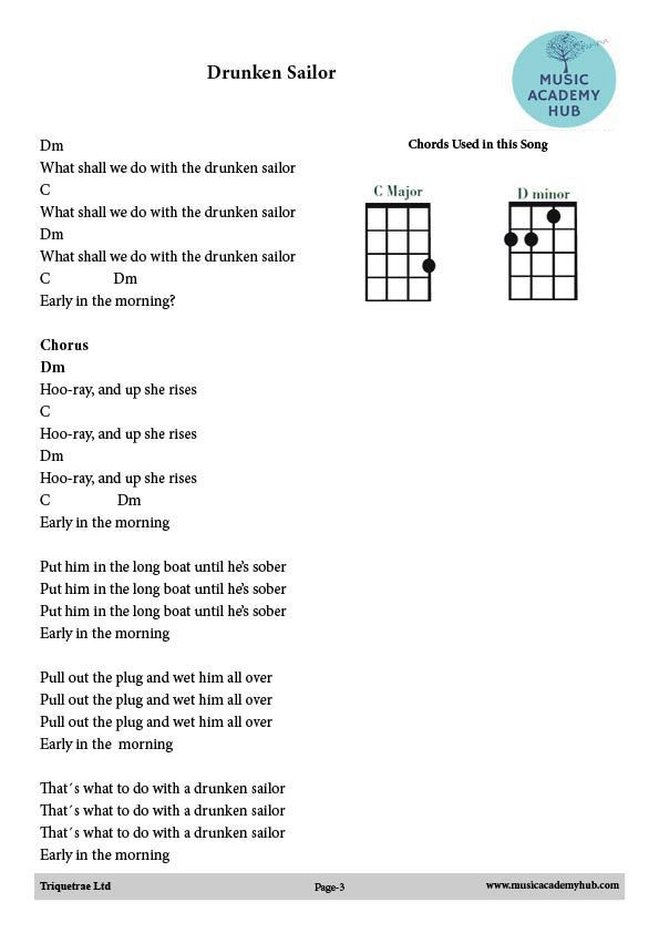 Free Music For Drunken Sailor Uke Chords Dm And C As Used In Our
