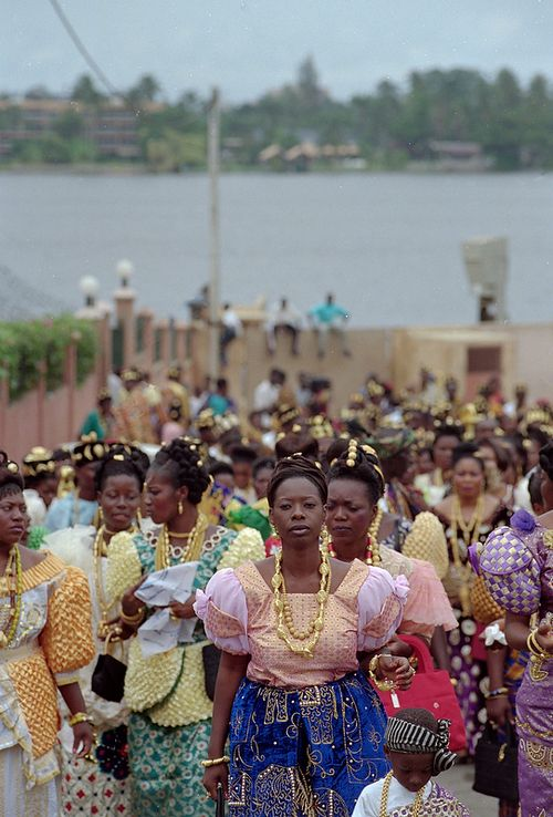 Women at the Ebrie Blokosso Generational Festival, celebrated once every three years by the Ebrie in the Ivory Coast and marks the passage from childhood into adulthood in Ebrie culture.  Photographs by Christine Nesbitt Hills