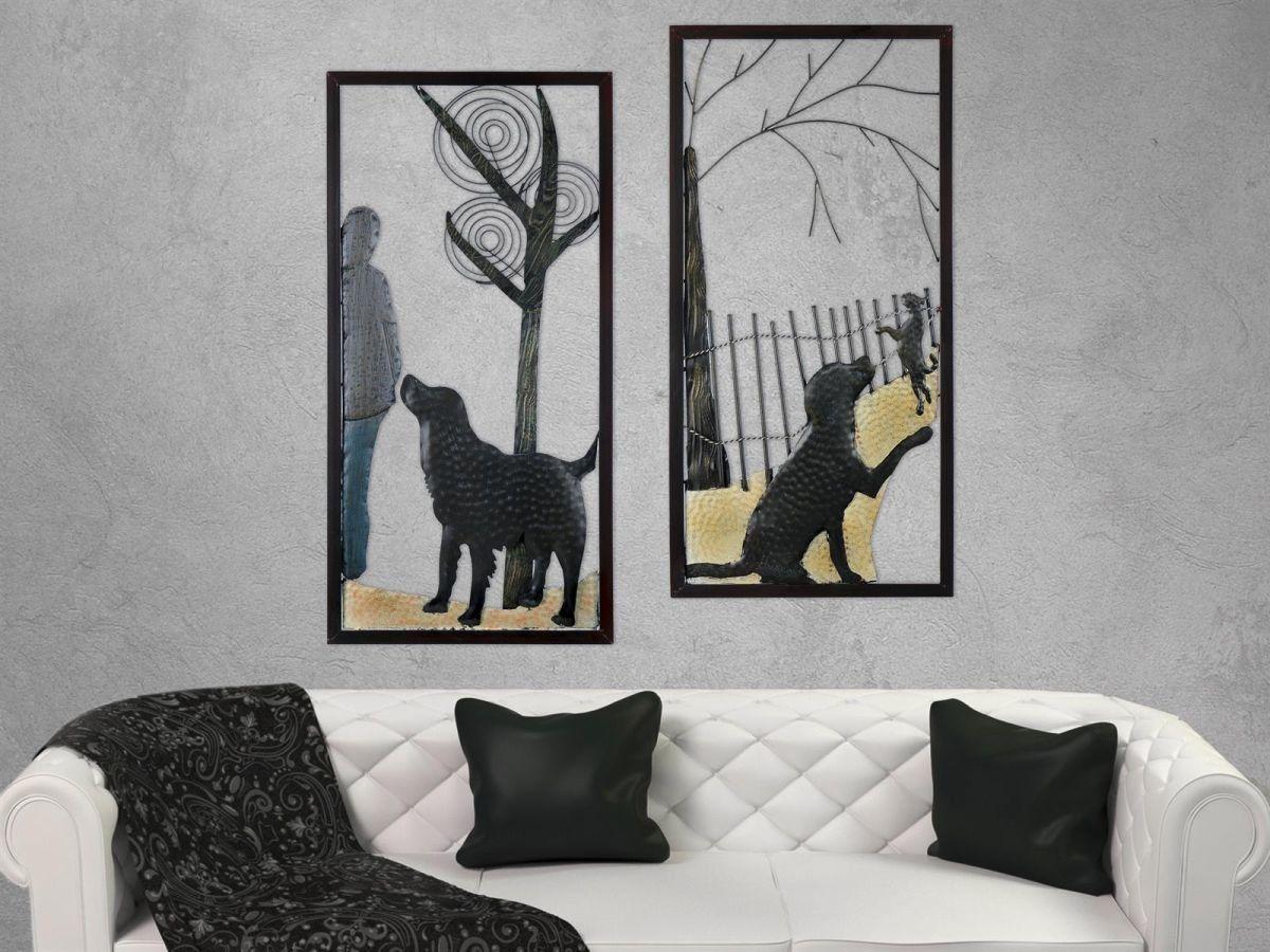 Gilde Wandbild Aus Metall Der Hundefreund 2tlg Set Raumzutaten