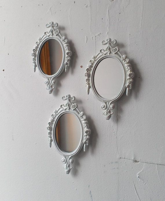 White Mirror Set Small Decorative Mirrors Vintage French Country Cottage Nursery Wall Decor Ideas Baby Shower Gifts