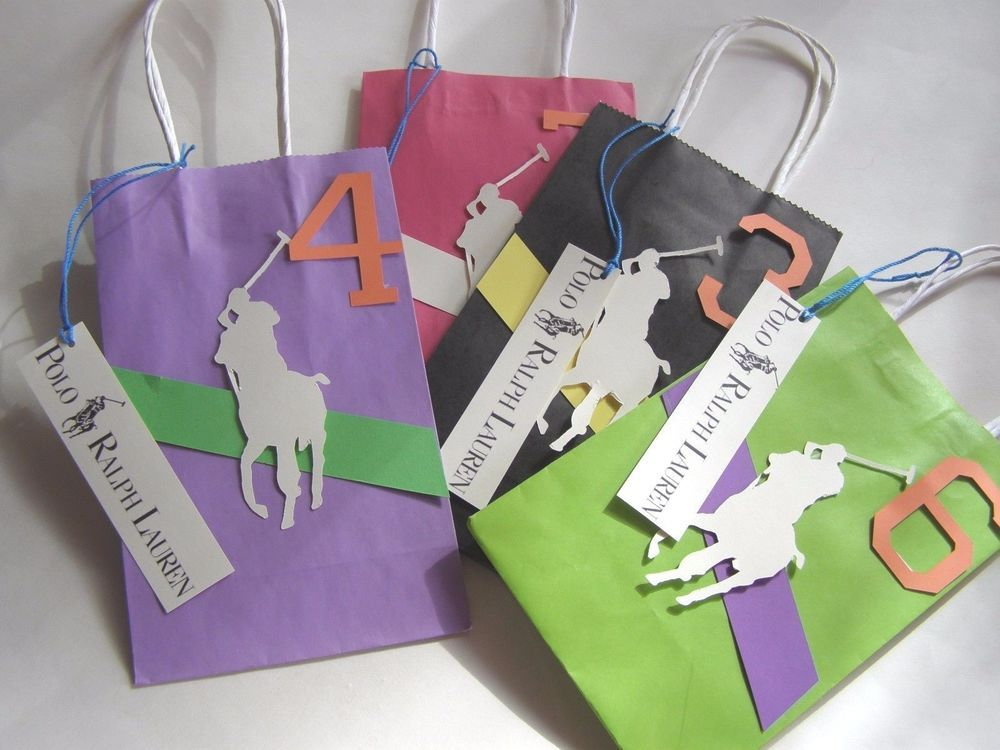 Six large polo equestrian kids party gift bags medium holiday six large polo equestrian kids party gift bags medium holiday party favors negle Images