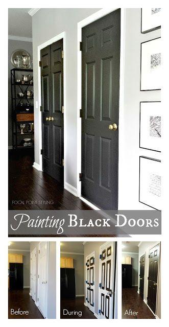 FOCAL POINT STYLING: Painting Interior Doors Black U0026 Updating Brass Hardware