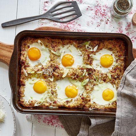 Rösti-Auflauf mit Speckwürfeln und Ei #Äpfelverwerten
