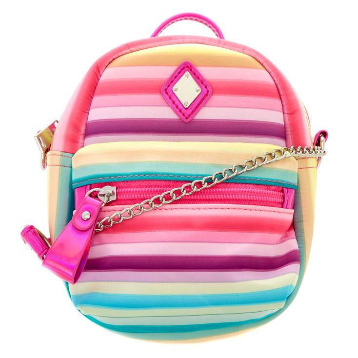 Striped Pastel Mini Backpack Crossbody Bag