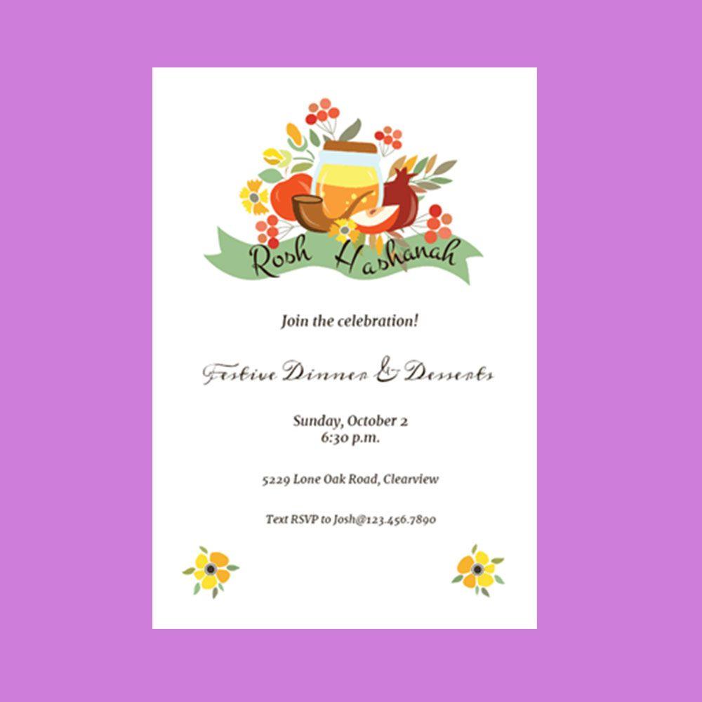 Party symbolic still life rosh hashanah invitation