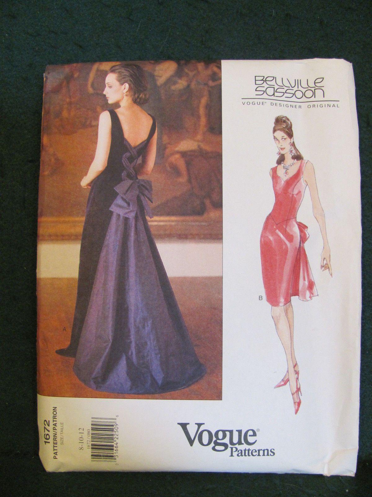 Vogue Pattern 1672 Designer Original Bellville Sassoon Misses Dress Ebay Evening Dresses For Weddings Vogue Patterns Vogue Pattern