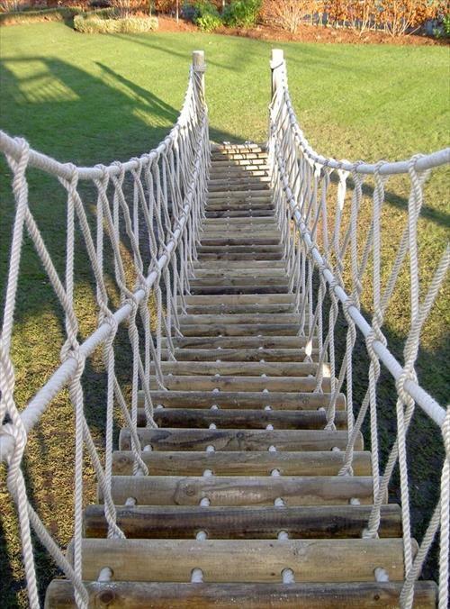 Backyard Rope Bridge diy rope bridge ideas | my backyard | pinterest | rope bridge