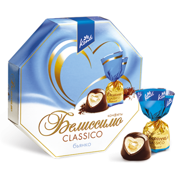 Belissimo CLASSICO sweets, bianco    Delicate milk coconut paste filled with soft coconut-flavoured toffee caramel. They are coated with chocolate.