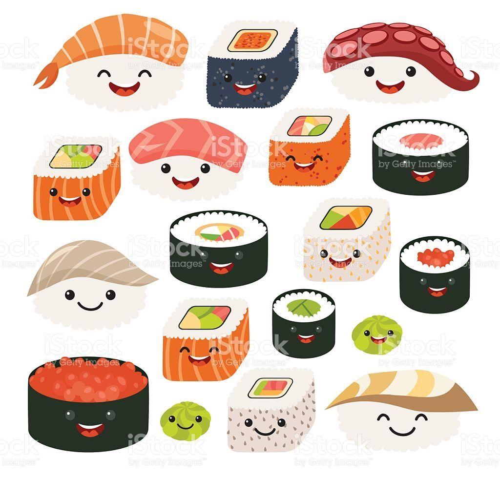 Emoji sushi characters.Cartoon japanese food. Vector set sushi ...