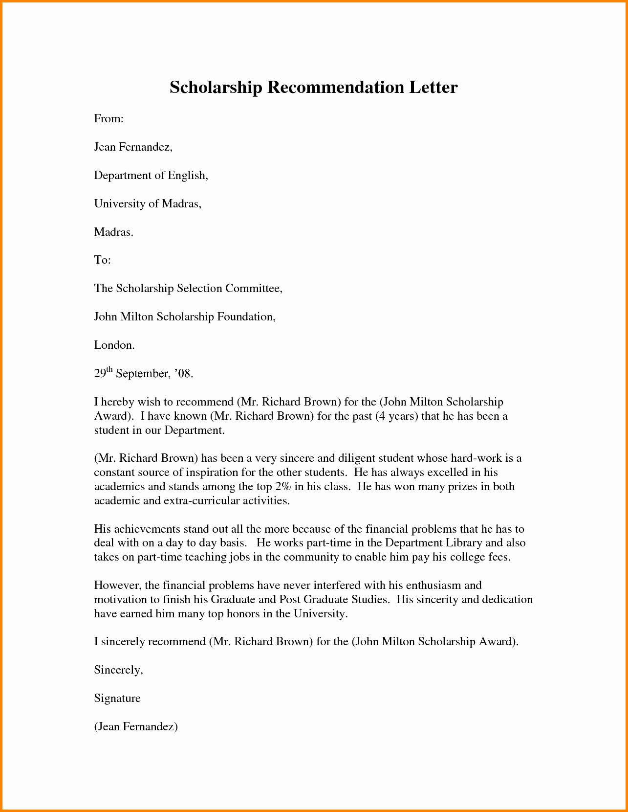 Scholarship Letters Of Template Best Of