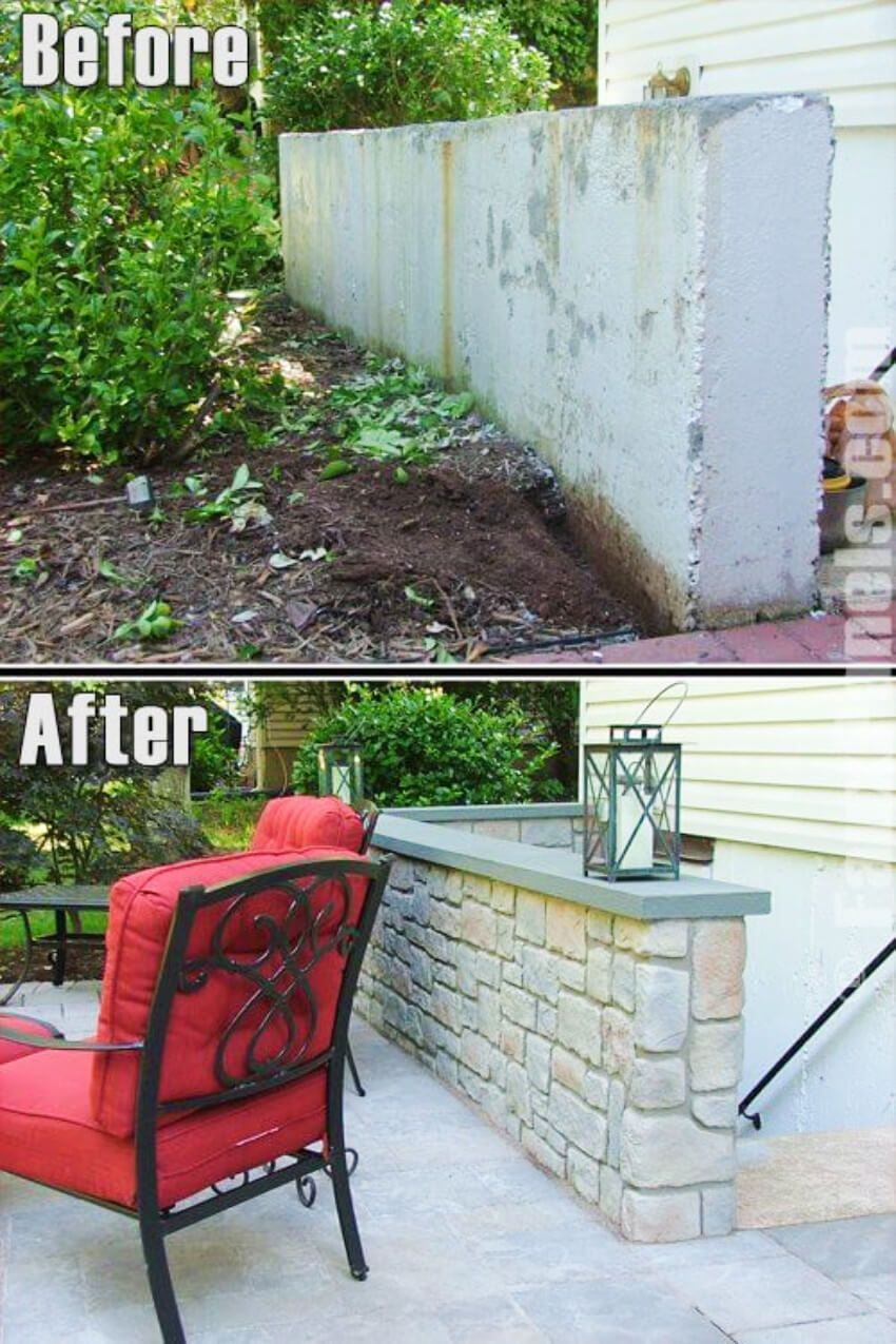 5 Before And After Half Wall Ideas That Will Amaze You Concrete Retaining Walls Exterior Wall Panels Patio Wall