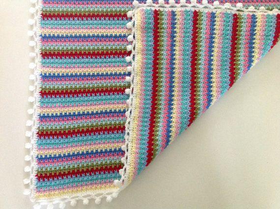 Pompom Baby Blanket Crochet Blanket by AddiesKnittedGifts on Etsy