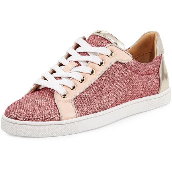 0b5c22ef4c6be Christian Louboutin Seava Woman Glitter Red Sole Low-Top Sneaker featuring  polyvore women s fashion shoes sneakers version poudre red flat shoes  patent ...