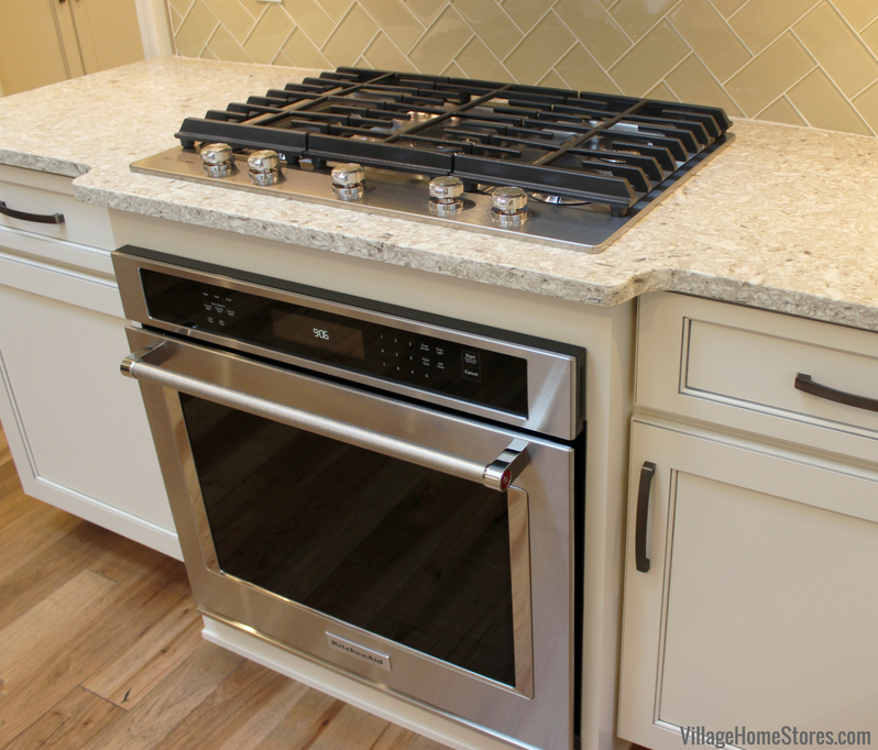 Kitchen Oven Cabinets: Wall #oven Built Into Base Cabinet With Gas #cooktop Above