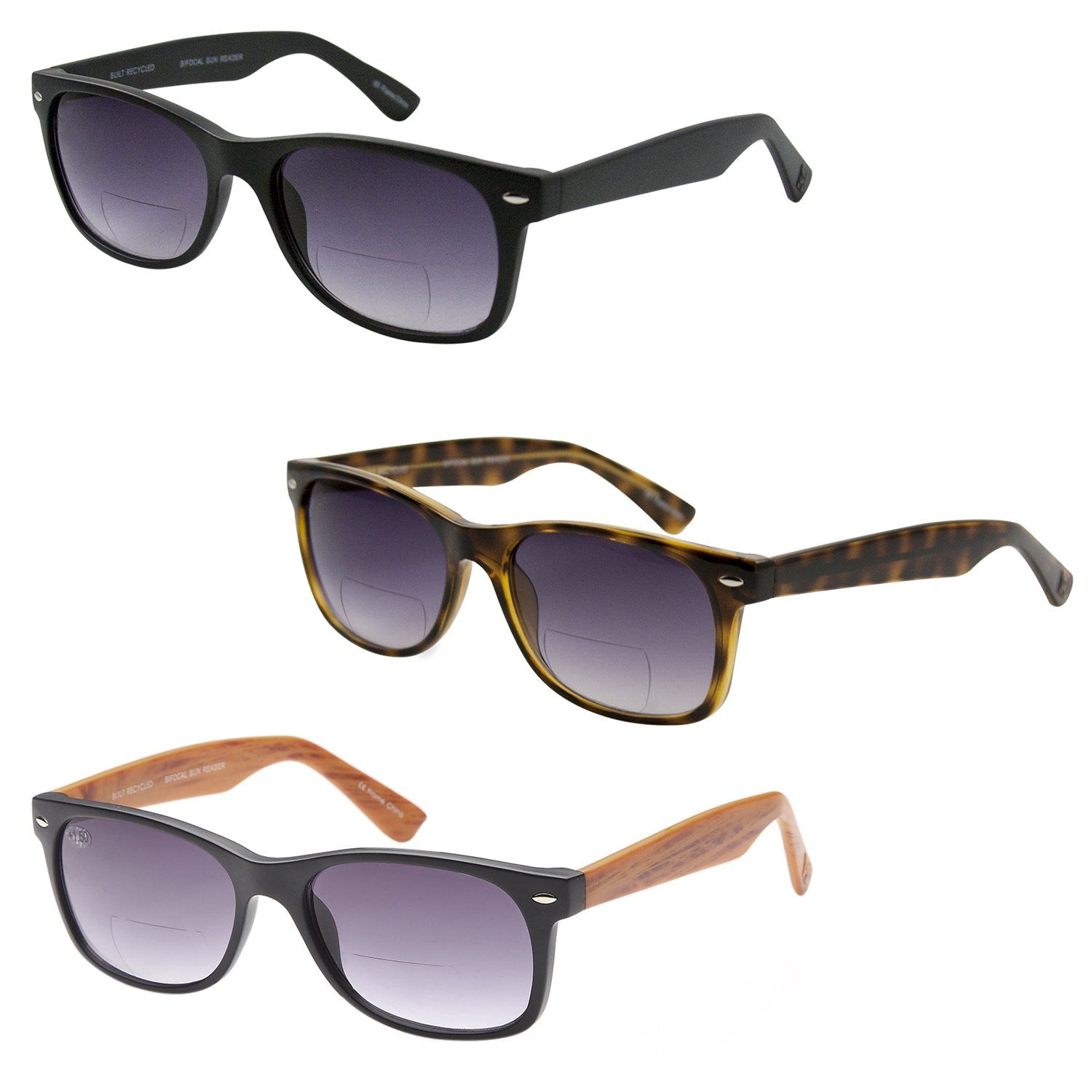 dd28a671268 GAMMA RAY 3 Pack of Vintage Style Bifocal Sunglasses 2.00 Magnification  Readers w Gradient Lens UV400 Protection Outdoor Reading Glasses for Men  and Women ...