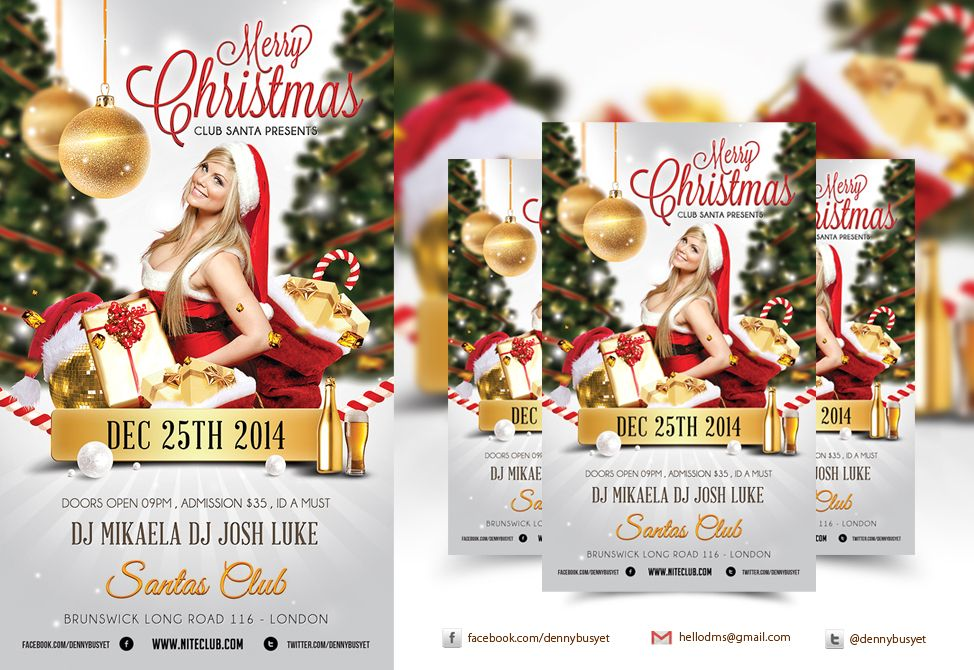 Merry Christmas Nightclub Psd Flyer Template Psd Flyer Templates