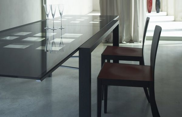 FS: Ligne Roset Extensia Dining Table - Ebony Oak/Anthracite Glass ...
