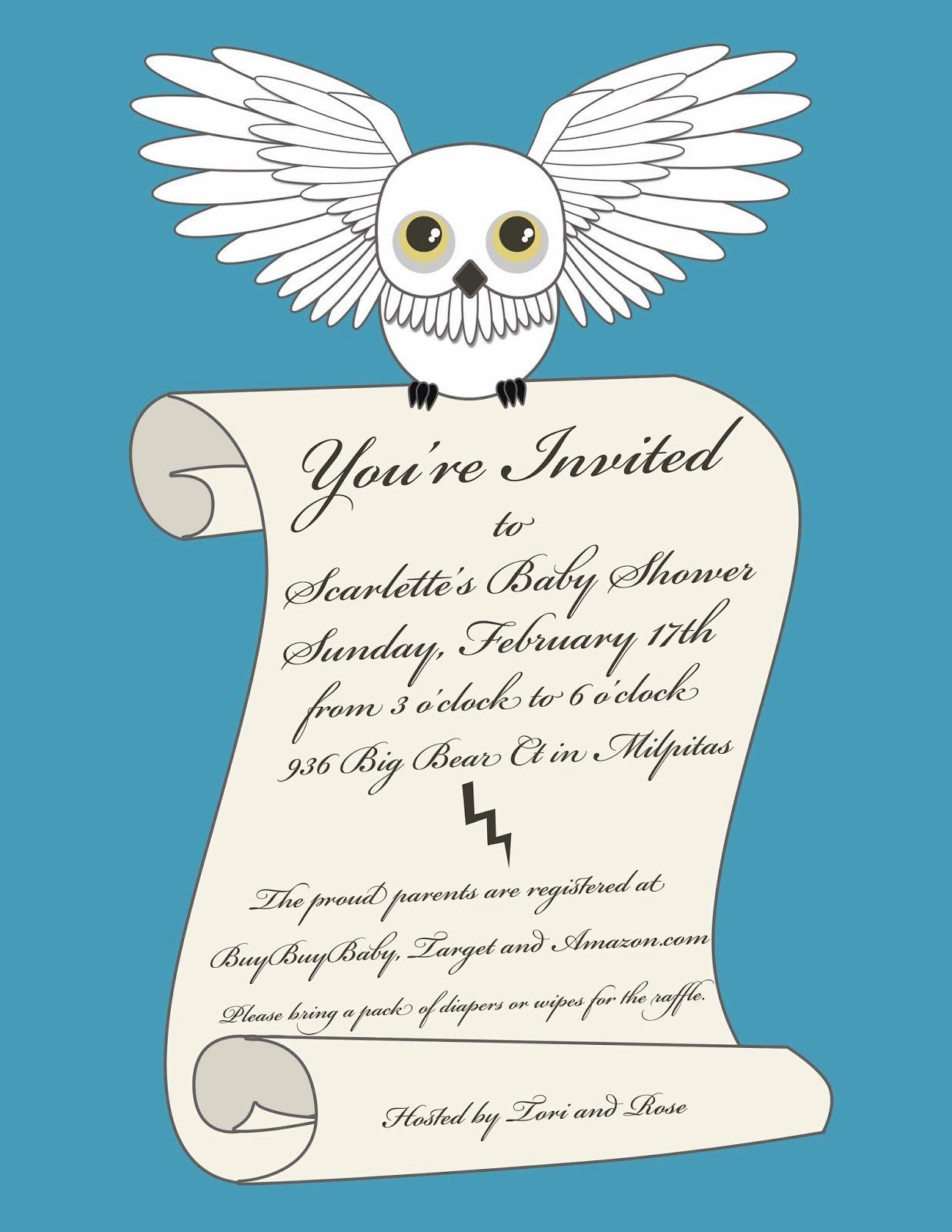 NotoriousStar Designs: Harry Potter Baby Shower Invitation | Brandis ...