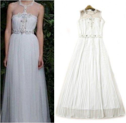 white long maxi gown, beaded mesh sleeveless, white evening cocktail dress
