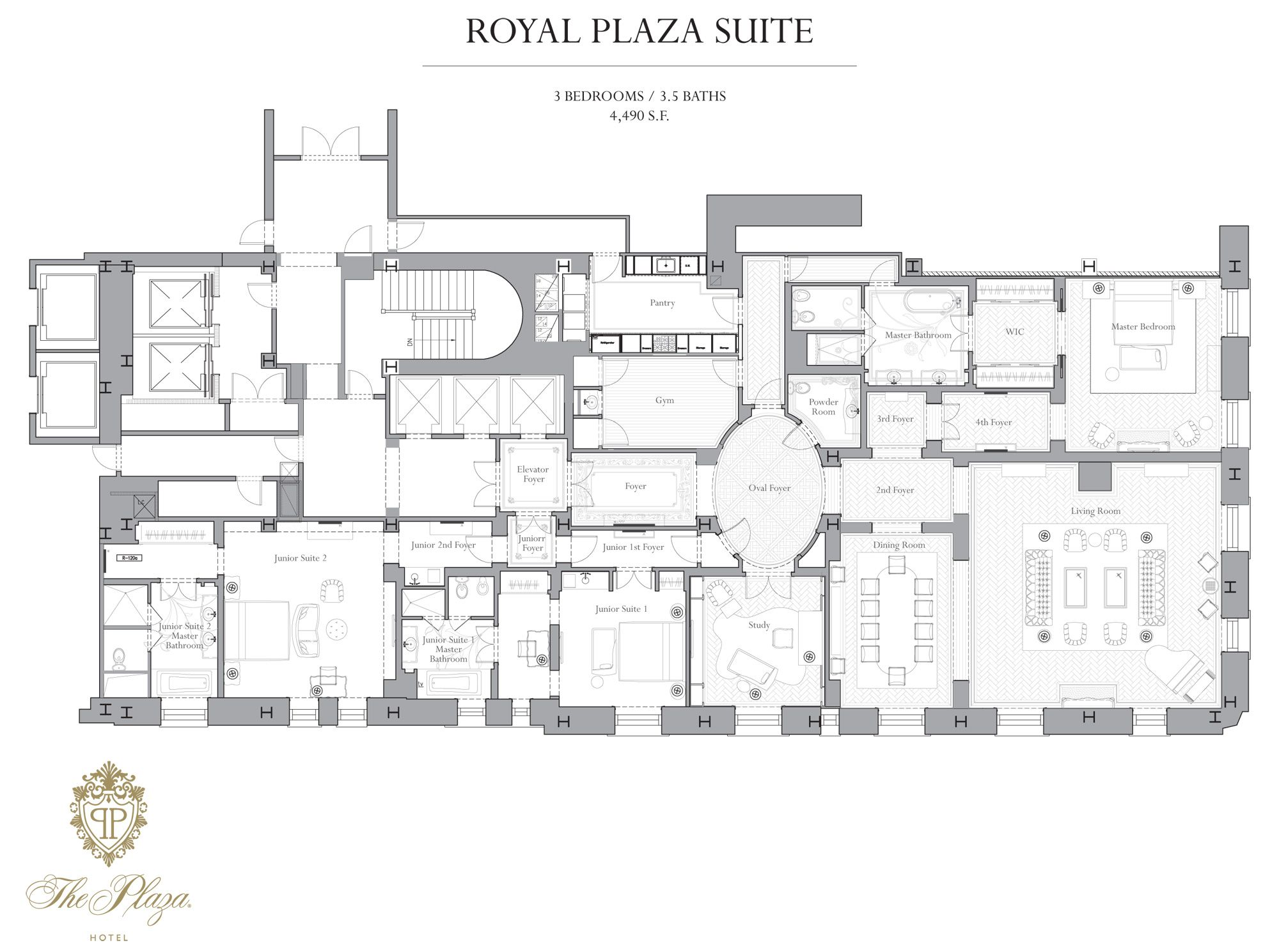 4900 Square Feet The Royal Plaza Suite At The Plaza Hotel Nyc Hotel Suite Floor Plan Floor Plans Hotel Suite Plan