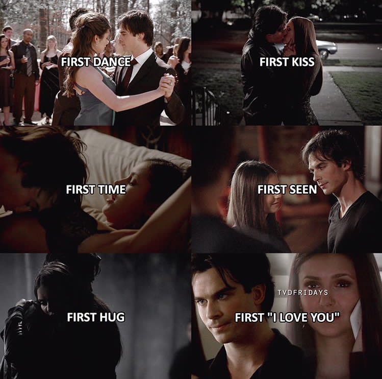 Tvd The Vampire Diaries Elena Damon First Dancefirst Kissfirst