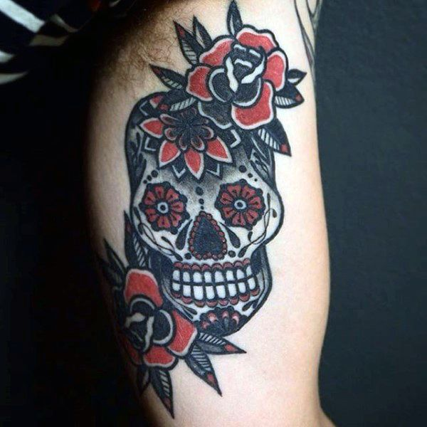 100 Sugar Skull Tattoo Designs For Men Cool Calavera Ink Ideas Sugar Skull Tattoos Skull Tattoo Design Skull Tattoo