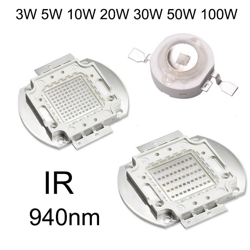 High Power Led Chip Infrared 940nm Ir Led 3w 5w 10w 20w 30w 50w 100w 940 Nm Light Lamp Epistar Cob Led Beads For Nig Power Led Led Light Lamp Light Accessories