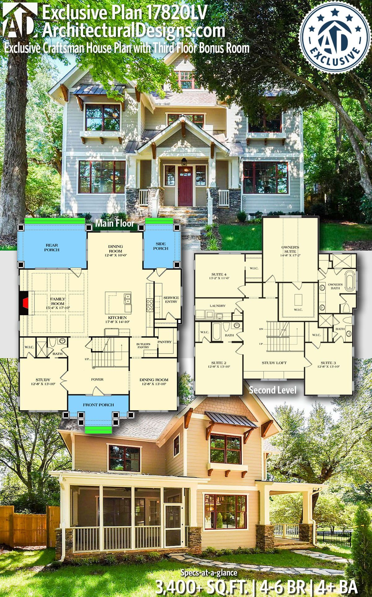 Plan 17820lv Exclusive Craftsman House Plan With Third Floor Bonus Room In 2020 House Plans Craftsman House Plan Craftsman House