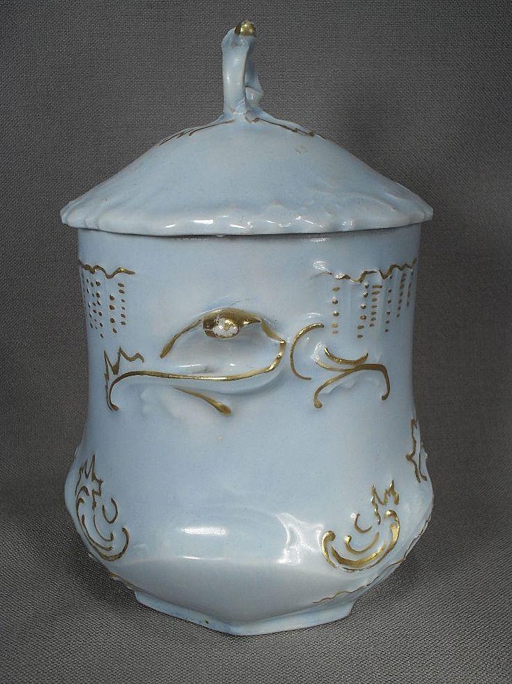 Lovely Light Blue Porcelain Condensed Milk Holder from 1902 from grannymares on Ruby Lane