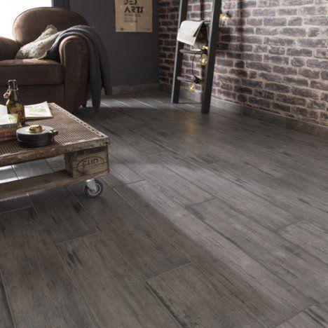 Carrelage sol et mur gris effet bois Cabane l15 x L90 cm - brico carrelage salle de bain