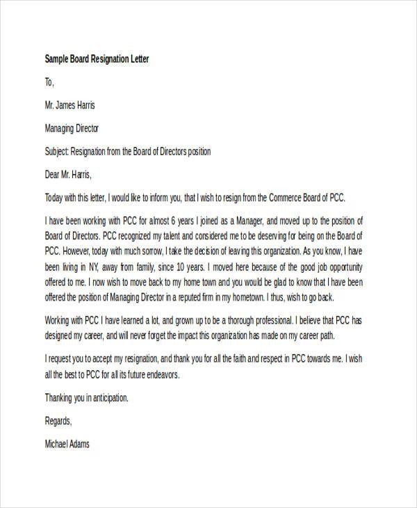 7 board resignation letters free sle exle format free premium - sample pregnancy resignation letters