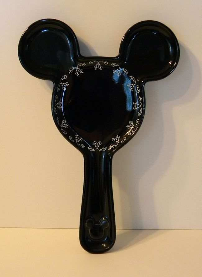 Disney Parks Mickey Mouse Gourmet Black Ceramic Spoon Rest New